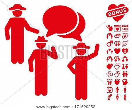 Gentlemen Discussion pictograph with bonus passion graphic icons. Vector illustration style is flat iconic red symbols on white background.