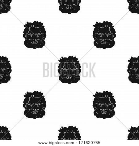 Caveman face icon in black style isolated on white background. Stone age pattern vector illustration.