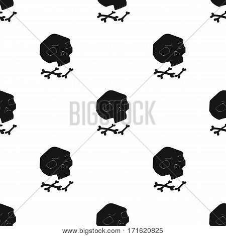 Human ancient bones icon in black style isolated on white background. Stone age pattern vector illustration.
