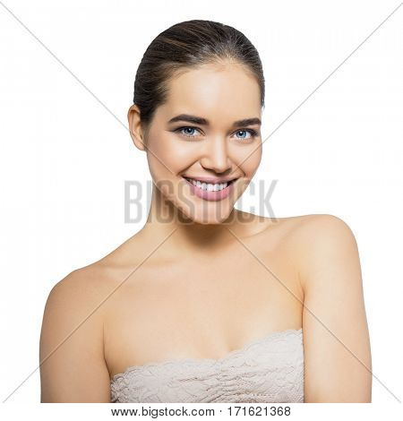 Girl with perfect smile. Beauty female portrait. Beautiful young woman happy smiling, over white background. Healthcare, youth and aging, spa, cosmetology concept.