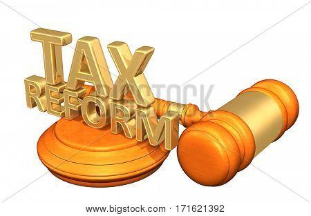 Tax Reform Legal Gavel Concept 3D Illustration