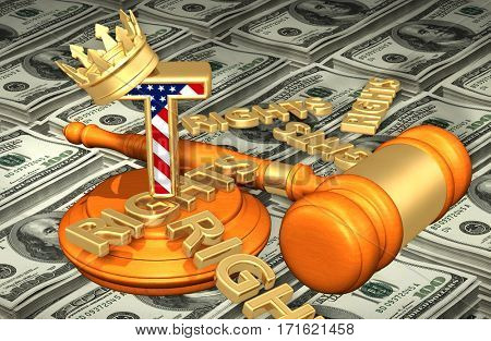 The King Of America With Rights Scattered Legal Gavel Concept 3D Illustration