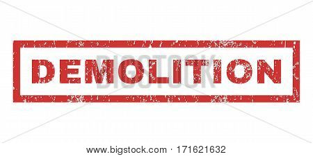 Demolition text rubber seal stamp watermark. Tag inside rectangular shape with grunge design and dirty texture. Horizontal vector red ink sign on a white background.