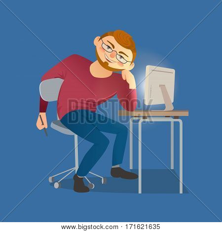 Business character concept. Freehand drawn cartoon style. Web designer sitting at table. Working place, monitor. Young man developer working in office, design studio. Freelance job vector background