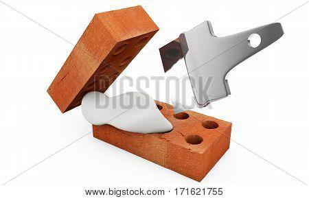3D trowel and bricks. Work tool Bulding, Bricklayer, Mason, Kask, Murarz poster