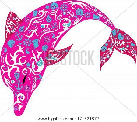 Dolphin with patterns, a marine animal, the jumping fish, wild fauna, a mammal illustration, the vector drawing