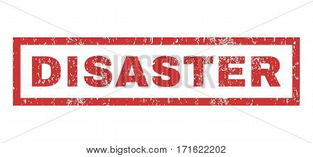 Disaster text rubber seal stamp watermark. Tag inside rectangular banner with grunge design and dirty texture. Horizontal vector red ink emblem on a white background.