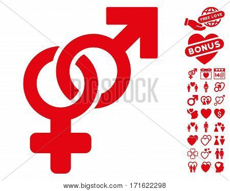 Heterosexual Symbol icon with bonus lovely graphic icons. Vector illustration style is flat iconic red symbols on white background.