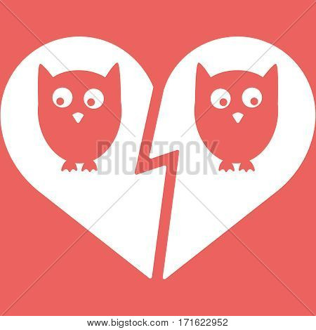 Owl Family Divorce Flat Icon Vector Illustration EPS10. White and red