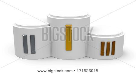 White cylinder podium with three rank places (roman numerals) three-dimensional rendering 3D illustration