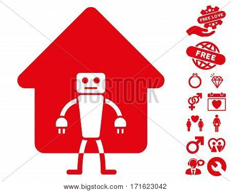 Home Robot icon with bonus romantic clip art. Vector illustration style is flat iconic red symbols on white background.