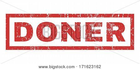 Doner text rubber seal stamp watermark. Tag inside rectangular shape with grunge design and scratched texture. Horizontal vector red ink sticker on a white background.