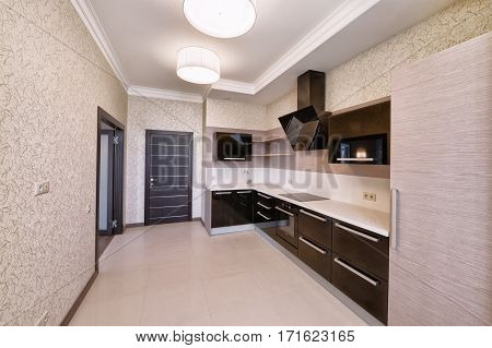 Russia, Moscow region, a new empty interior in luxury country house