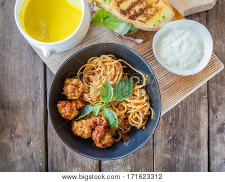 Spaghetti Pasta With Meatballs And Tomato Sauce, Top View Shot