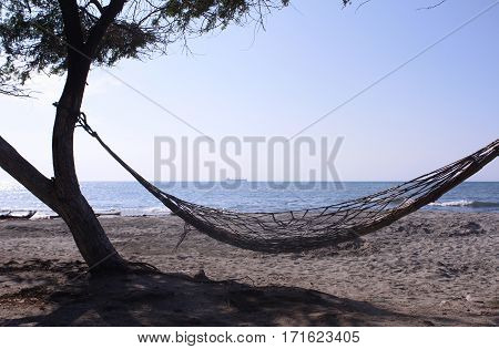 Hammock in the beach in a beautiful day