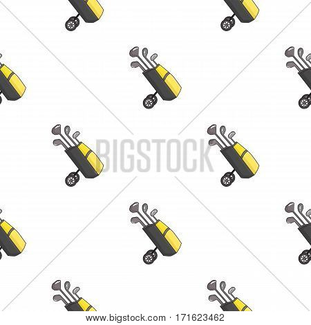 Golf bag on wheels with clubs icon in cartoon style isolated on white background. Golf club symbol vector illustration.