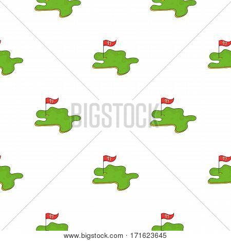 Golf course icon in cartoon style isolated on white background. Golf club symbol vector illustration.