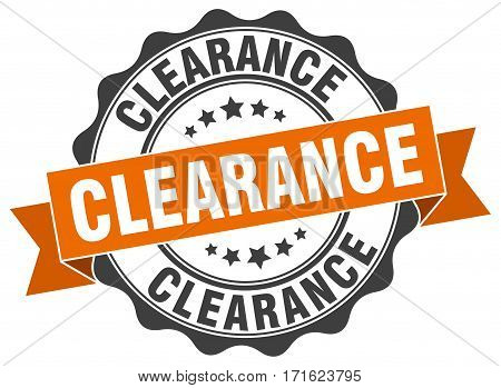 clearance. stamp. sign. seal. round. retro. ribbon