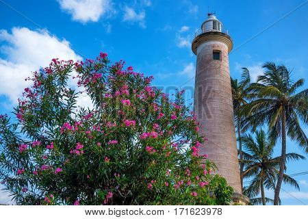 Scenic view with lighthouse old colonial fort Galle in Sri Lanka