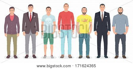Group of men standing together. Flat cartoon style