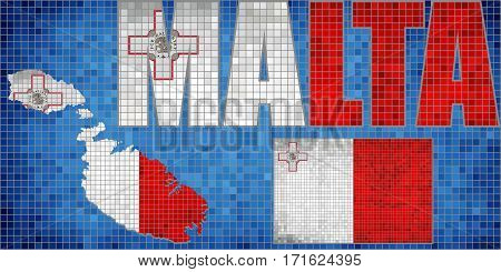 Mosaic map and flag of Malta - Illustration,   Grunge mosaic Maltese flag,  Font with the Malta flag