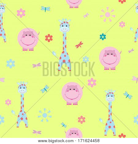 children's cartoon hippopotamus seamless pattern giraffe pattern vector illustration