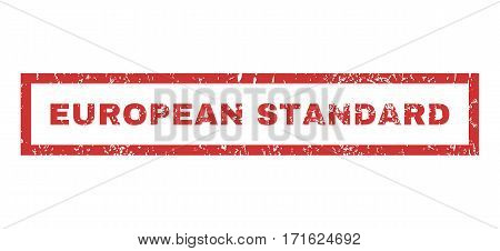 European Standard text rubber seal stamp watermark. Tag inside rectangular banner with grunge design and dirty texture. Horizontal vector red ink emblem on a white background.
