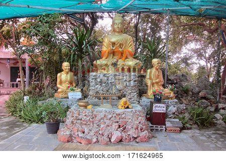 Statues of Buddha on Koh Lan, Thailand