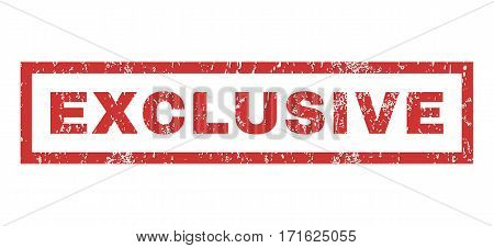 Exclusive text rubber seal stamp watermark. Caption inside rectangular banner with grunge design and scratched texture. Horizontal vector red ink emblem on a white background.