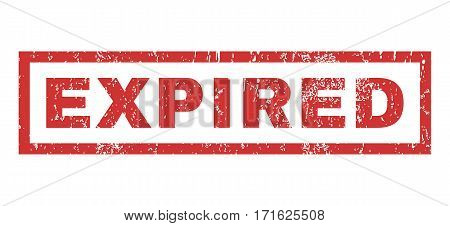 Expired text rubber seal stamp watermark. Caption inside rectangular banner with grunge design and unclean texture. Horizontal vector red ink sign on a white background.