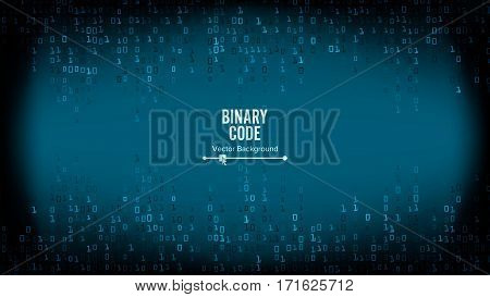Binary Code Background Vector. Algorithm Binary, Data Code, Decryption And Encoding