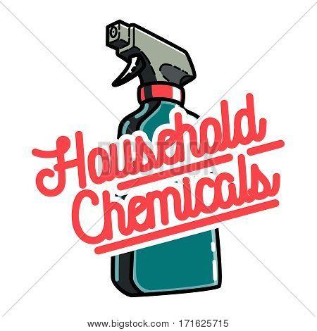 Color vintage household chemicals emblem, label, badge and design elements. Creative vector illustration