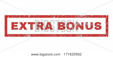Extra Bonus text rubber seal stamp watermark. Caption inside rectangular banner with grunge design and scratched texture. Horizontal vector red ink sticker on a white background.