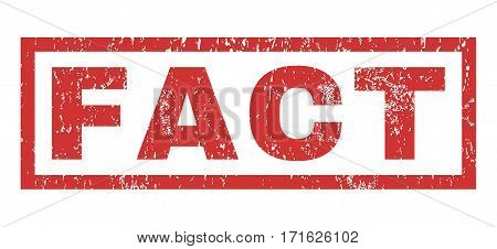 Fact text rubber seal stamp watermark. Tag inside rectangular shape with grunge design and unclean texture. Horizontal vector red ink sign on a white background.