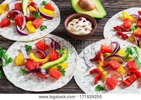 Delicious Healthy Fajitas With Chunks Of Smoked Salmon