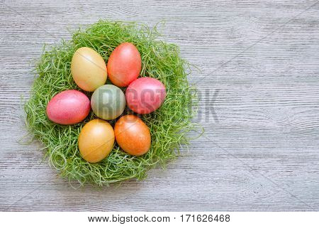 color easter eggs in nest on vintage wooden background