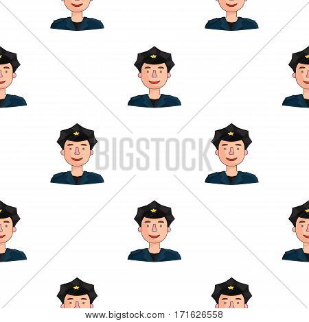 Policeman icon in cartoon style isolated on white background. People of different profession pattern vector illustration.