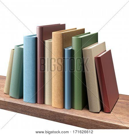 Books on the shelf, isolated