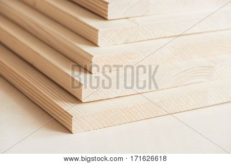 Stack of timber boards, wood panels.