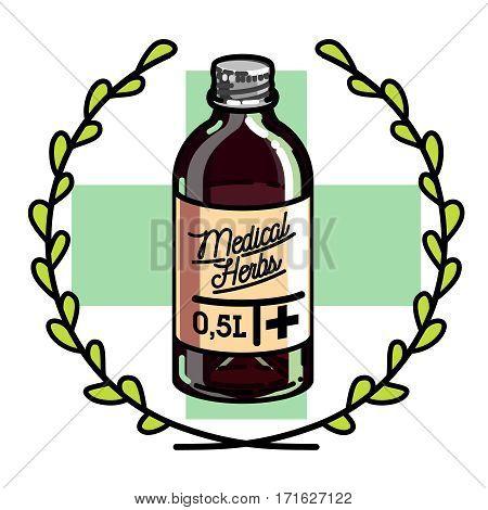 Color vintage medical plants herbs emblem, label, badge and design elements. Vector illustration, EPS 10