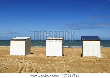 Beach Cabins At The Northsea, De Panne, Belgium