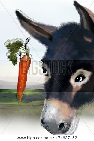 Digital illustration of a donkey watching a carrot