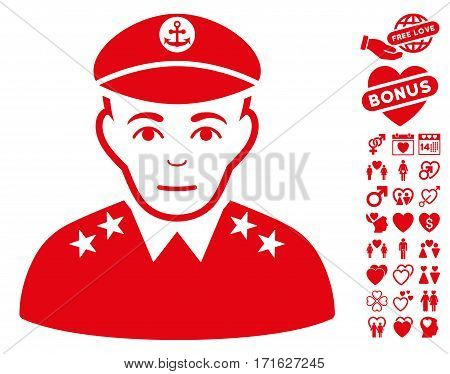 Military Captain icon with bonus romantic pictograms. Vector illustration style is flat iconic red symbols on white background.
