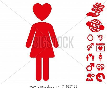 Mistress pictograph with bonus valentine design elements. Vector illustration style is flat iconic red symbols on white background.
