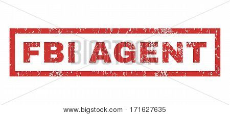 FBI Agent text rubber seal stamp watermark. Tag inside rectangular shape with grunge design and unclean texture. Horizontal vector red ink sign on a white background.