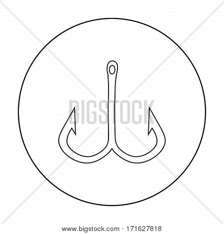 Fishing hook icon in outline design isolated on white background. Fishing symbol stock vector illustration.