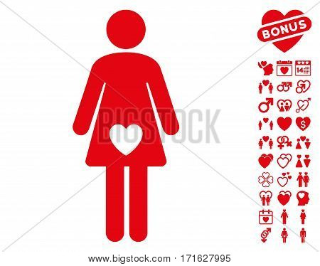 Mistress icon with bonus decorative graphic icons. Vector illustration style is flat iconic red symbols on white background.