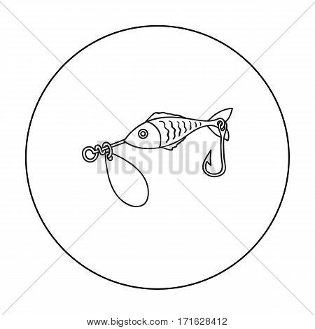 Fishing bait icon in outline design isolated on white background. Fishing symbol stock vector illustration.