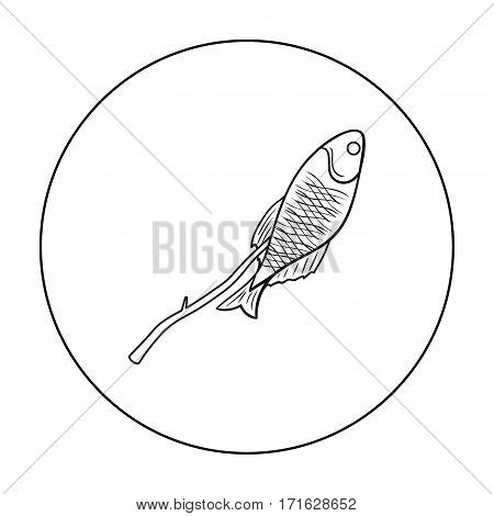 Fried fish icon in outline design isolated on white background. Fishing symbol stock vector illustration.