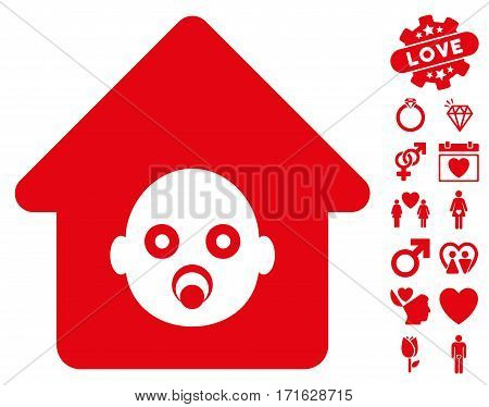 Nursery House pictograph with bonus marriage pictograph collection. Vector illustration style is flat iconic red symbols on white background.